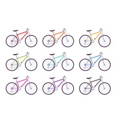 set of sport bicycles in different colors vector image