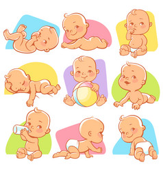 set with cute little baby in different situations vector image