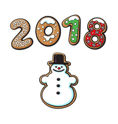 snowman cookie isolated vector image