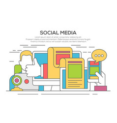 social media networking thin line flat concept vector image