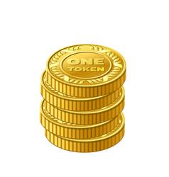 Stack gold one token coin icon vector