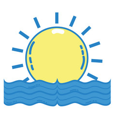 Sun with water flood natural disaster vector