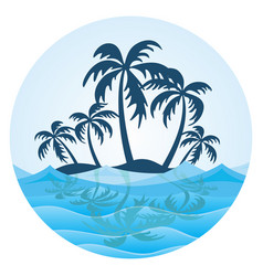 symbol tropical island with palm trees vector image