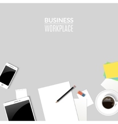 Top view desk work Work place with tablet phone vector image