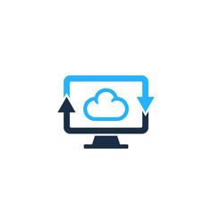 transfer computer logo icon design vector image