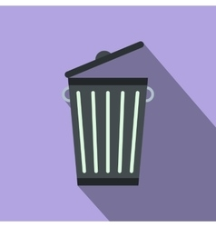 Trash can flat vector