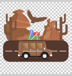 Travel car campsite place landscape mountains vector