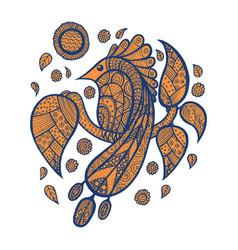 tropical bird peacock on branch vector image