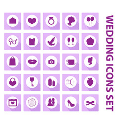 wedding set icons design elements black vector image