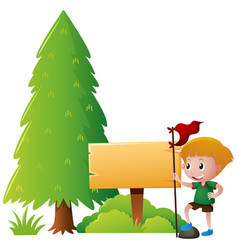 Wooden sign and boy in the park vector