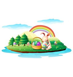 An island with a bunny and a basket of easter eggs vector image