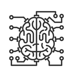 Brain-microchip line icon vector