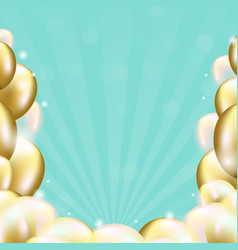 happy birthday card with golden balloons vector image vector image