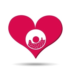 heart red cartoon donut icon design vector image