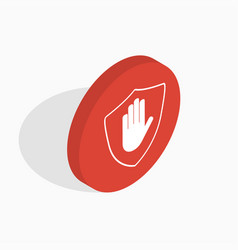 isometric shield with hand block icon stop hand vector image vector image