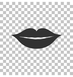 Lips sign Dark gray icon on vector image vector image