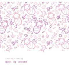 Baby girls horizontal border seamless pattern vector image vector image