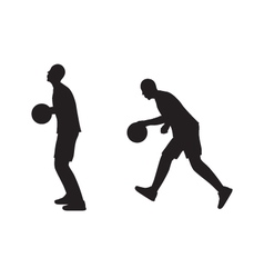 Black silhouette of basketball player with a ball vector image vector image