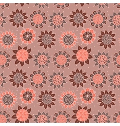 Brown doodle seamless flower pattern vector image