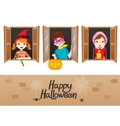 Children On Window Happy Halloween vector image vector image