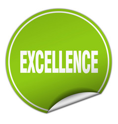 excellence round green sticker isolated on white vector image vector image