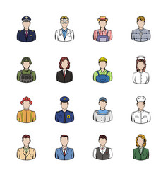 profession icons set cartoon vector image vector image