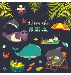 set of cute sea animals on resort vector image vector image