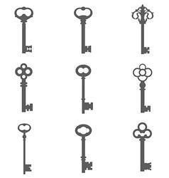 Set of nine keys silhouettes vector image