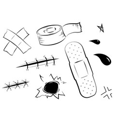 adhesive bandages set medical and healthcare vector image vector image