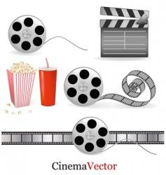 big group with cinema elements vector image