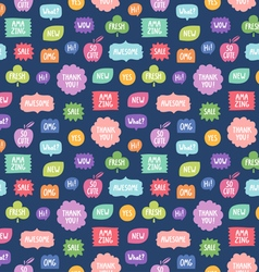 Colorful phrases repeat pattern on blue background vector image vector image