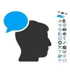 Person Idea Icon With Air Drone Tools Bonus vector image vector image