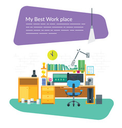 workplace with two monitors vector image