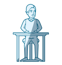 Blue color silhouette shading of man in formal vector