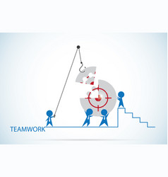 businessmen assembling the target symbol on jigsaw vector image