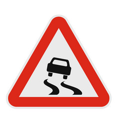 car on dangerous road icon flat style vector image