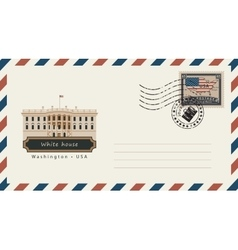 envelope with postage stamp with White House vector image vector image