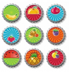 fruity bottle caps set vector image vector image