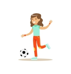 Girl Playing Football Kid Practicing Different vector image