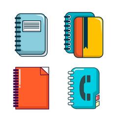notebook icon set cartoon style vector image