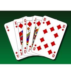 Poker hand - Royal flush diamond vector image vector image
