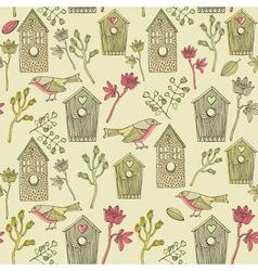 Retro Bird House Pattern vector image vector image