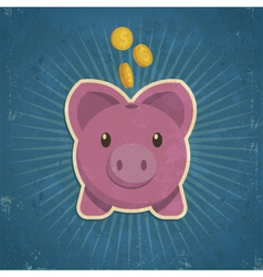 Retro Piggy Bank vector image vector image