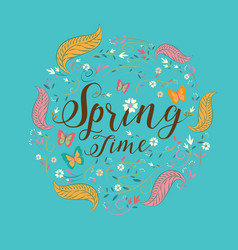 Spring lettering spring background text vector
