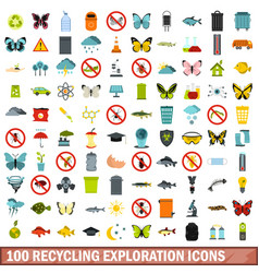 100 recycling exploration icons set flat style vector image