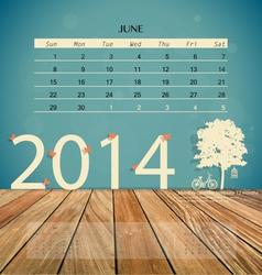 2014 calendar monthly calendar template for June vector image