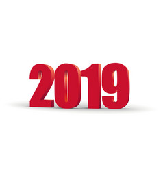 2019 happy new year red 3d numbers perspective vector image