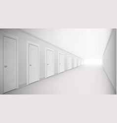 3d long corridor with lot of doors interior vector image