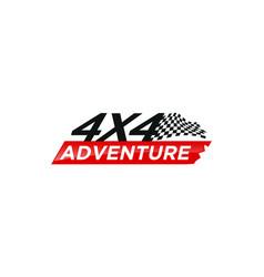 4x4 race flag logo design automotive vector