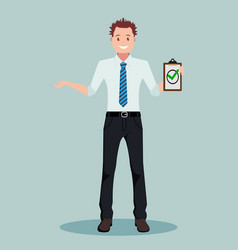 A business person standing and holding vector